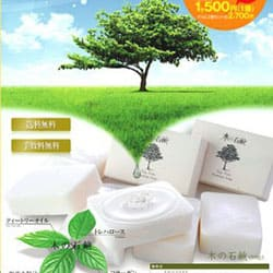 自然の恵みをだけを使った無添加石鹸の販売用チラシ